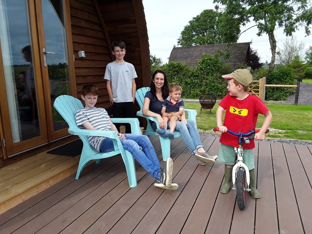 A family staying at our Glamping accommodation in North Devon.