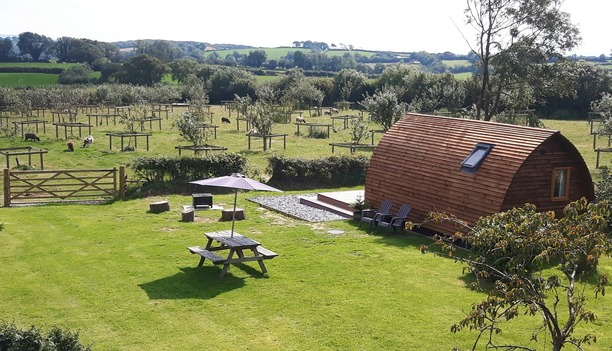 Glamping holiday accommodation and surrounding area